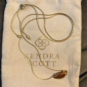 Kendra Scott Meghan Necklace Crackled Brown Pearl